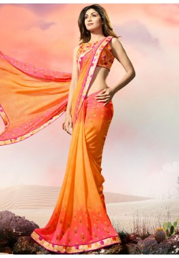Shilpa Shetty Yellow Printed Georgette Shaded Saree with Blouse