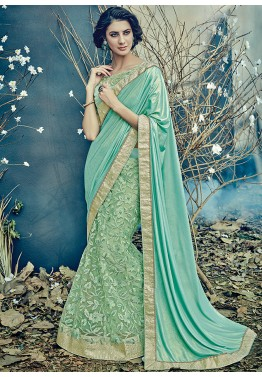 Mint Green Embroidered Lycra Net Lehenga Style Saree