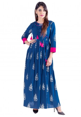 Indo Western Dress: Buy Readymade Blue Cotton Indian Tunics Online